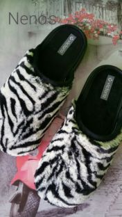 Zapatillas casa Victoria descalzas print cebra