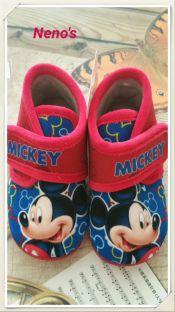 Zapatillas casa Disney Mickey velcro rojo