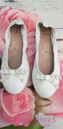 Bailarinas Papanatas blanco perlado