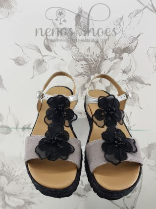 Sandalias Confetti flores negras