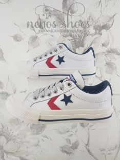 Converse star player piel blanco