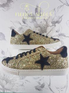 Zapatilla Confetti glitter oro
