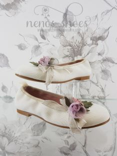 Manoletinas Zoysan beige flor